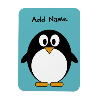 Cute Penguin Cartoon with Area for Name Rectangular Photo Magnet