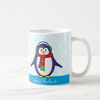 Cute Penguin Christmas with your name Coffee Mug