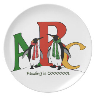 Cute Penguin Couple, ABC's, Reading is Cool, Kids Dinner Plates