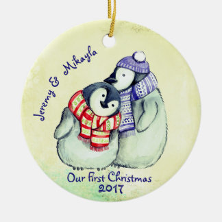 "Cute Penguin Couple ""Our First Christmas"" Round Ceramic Decoration"
