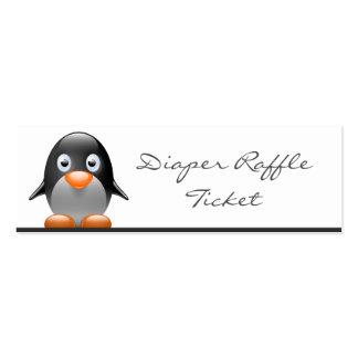 Cute Penguin Diaper Raffle Ticket - Skinny Card Business Card Template