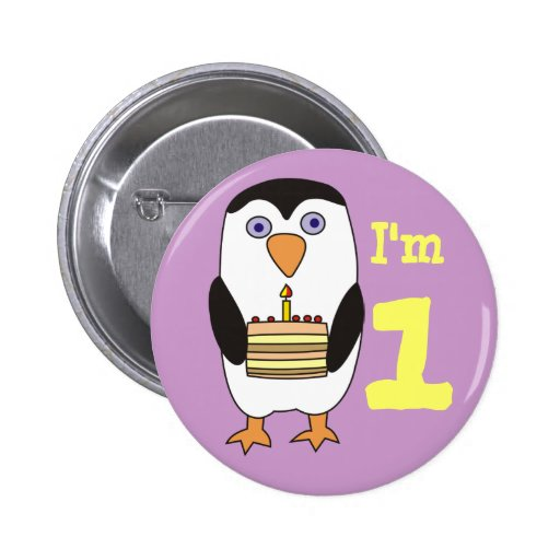 Cute Penguin First Birthday Button