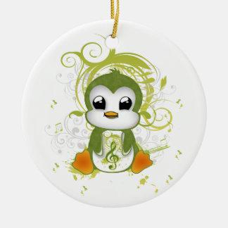 Cute penguin green fluffy effect music note swirls ceramic ornament