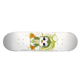 Cute penguin green fluffy effect music note swirls skateboard decks