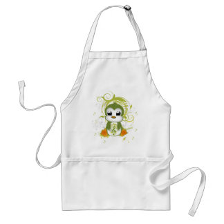 Cute penguin green fluffy effect music note swirls standard apron