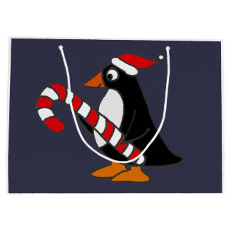 Cute Penguin Holding Candy Cane Art Large Gift Bag