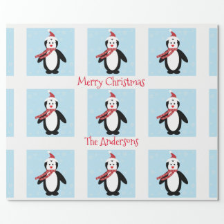 Cute Penguin in a Santa Hat Christmas Wrapping Paper