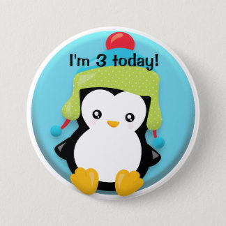 Cute Penguin in Green and Red Hat on Blue Birthday 7.5 Cm Round Badge