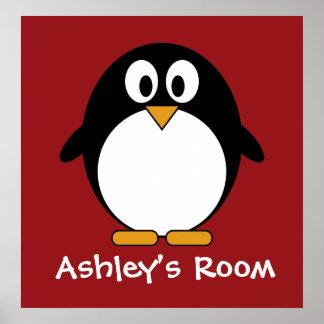 cute penguin kid s door poster