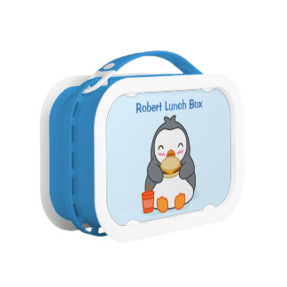 Cute Penguin Lunch Box with Custom Name