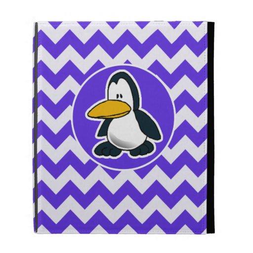 Cute Penguin on Blue Violet Chevron iPad Folio Cases