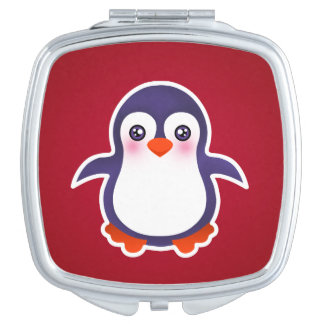 Cute Penguin On Red Background Illustration Makeup Mirrors