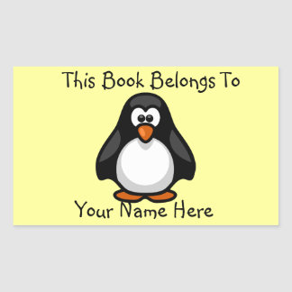 Cute Penguin on Yellow Book Name Plate Rectangular Sticker