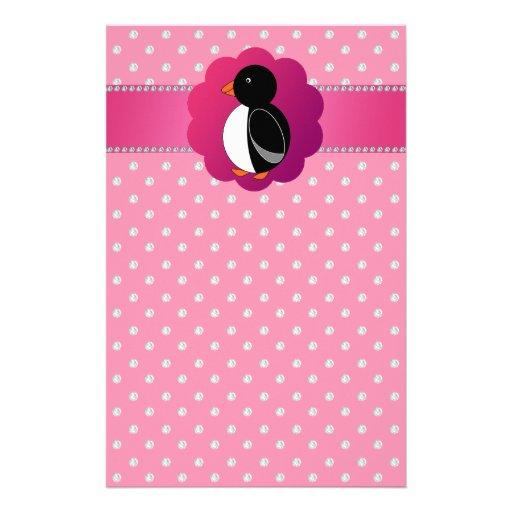 Cute penguin pink diamonds custom stationery