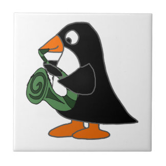 Cute Penguin Playing Saxophone Cartoon Tile