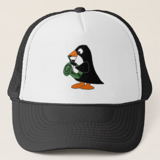 Cute Penguin Playing Saxophone Cartoon Trucker Hat