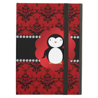 Cute penguin red damask iPad case