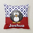 Cute Penguin RW&B w/ Polka Dots, Add Name Cushion
