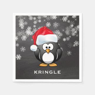Cute Penguin Santa Snowflakes Chalkboard Christmas Paper Napkins