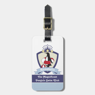 Cute Penguin Swimming Club Crest Personalized Kids Luggage Tag
