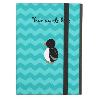 Cute penguin turquoise chevrons iPad cases