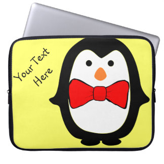 Cute Penguin w/ Red Bow Tie Yellow Electronics Bag Laptop Sleeve