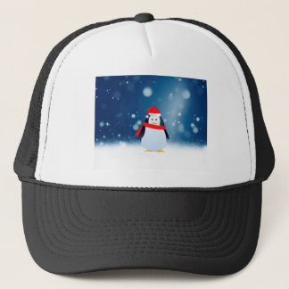 Cute Penguin w Red Santa Hat Christmas Snow Stars