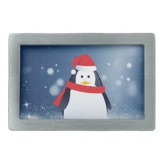 Cute Penguin w Red Santa Hat Christmas Snow Stars Belt Buckles