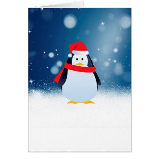 Cute Penguin w Red Santa Hat Christmas Snow Stars Card