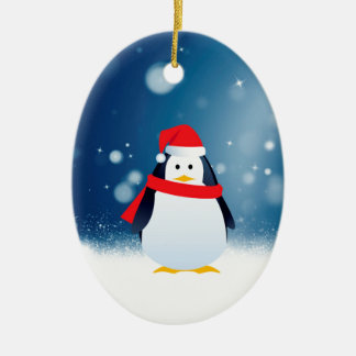 Cute Penguin w Red Santa Hat Christmas Snow Stars Ceramic Oval Decoration