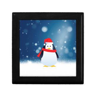Cute Penguin w Red Santa Hat Christmas Snow Stars Gift Box
