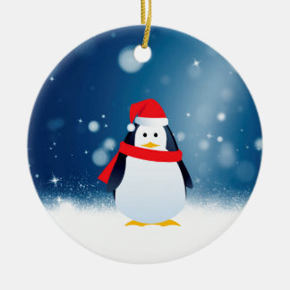 Cute Penguin w Red Santa Hat Christmas Snow Stars Round Ceramic Decoration