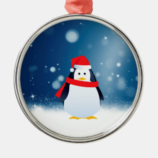Cute Penguin w Red Santa Hat Christmas Snow Stars Silver-Colored Round Decoration