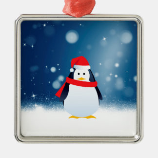 Cute Penguin w Red Santa Hat Christmas Snow Stars Silver-Colored Square Decoration