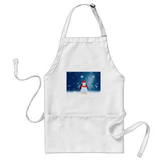 Cute Penguin w Red Santa Hat Christmas Snow Stars Standard Apron