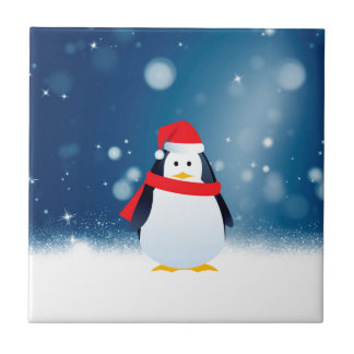 Cute Penguin w Red Santa Hat Christmas Snow Stars Tile