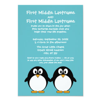 Cute Penguin Wedding Invitation