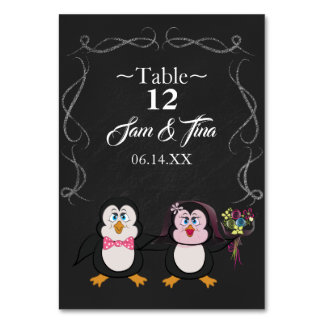cute penguin wedding table number