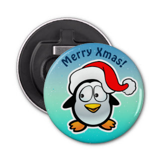 Cute Penguin With Christmas Hat Cartoon Bottle Opener