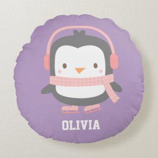 Cute Penguin with Ear Muffs Girls Room Decor Round Cushion