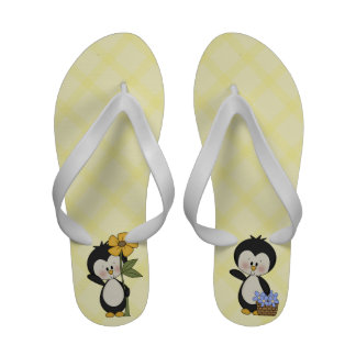 Cute Penguin with Flowers Sandals