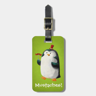 Cute Penguin with Mustaches Luggage Tag