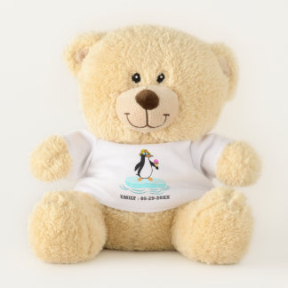 Cute Penguin with Name and Date Teddy Bear
