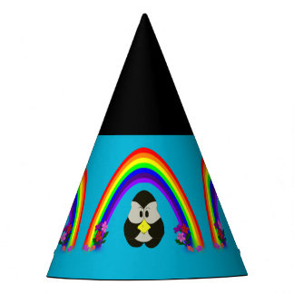 CUTE PENGUIN WITH RAINBOW PARTY HATS