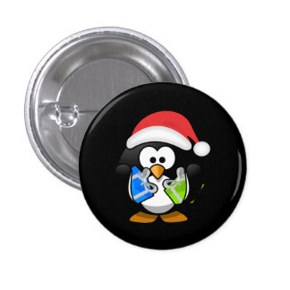 Cute Penguin With Santa Hat And Christmas Gifts 3 Cm Round Badge