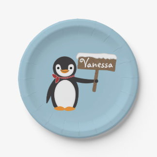 Cute Penguin with Scarf & Wooden Sign Paper Plate
