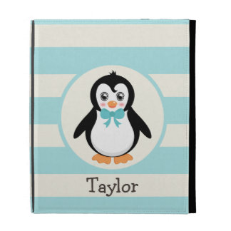 Cute Penguin with Turquoise Bowtie iPad Cases