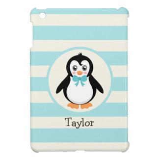 Cute Penguin with Turquoise Bowtie iPad Mini Cover