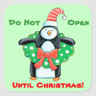 Cute Penguin Wreath Gift Tag Stickers