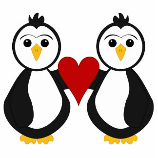 Cute Penguins Holding A Heart Photo Sculpture Decoration